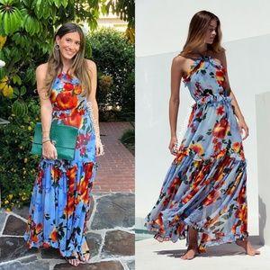 MISA LOS ANGELES Dallin Dress Blue Floral Chiffon